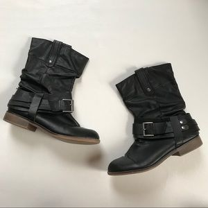 SM New York • Black Faux Leather Buckle Moto Boots